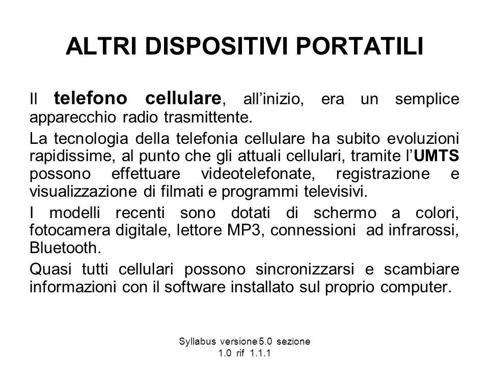 Syllabus versione 5.0 sezione 1.0 rif 1.1.1 ALTRI DISPOSITIVI PORTATILI Il telefono cellulare, allinizio, era un semplice apparecchio radio trasmitten