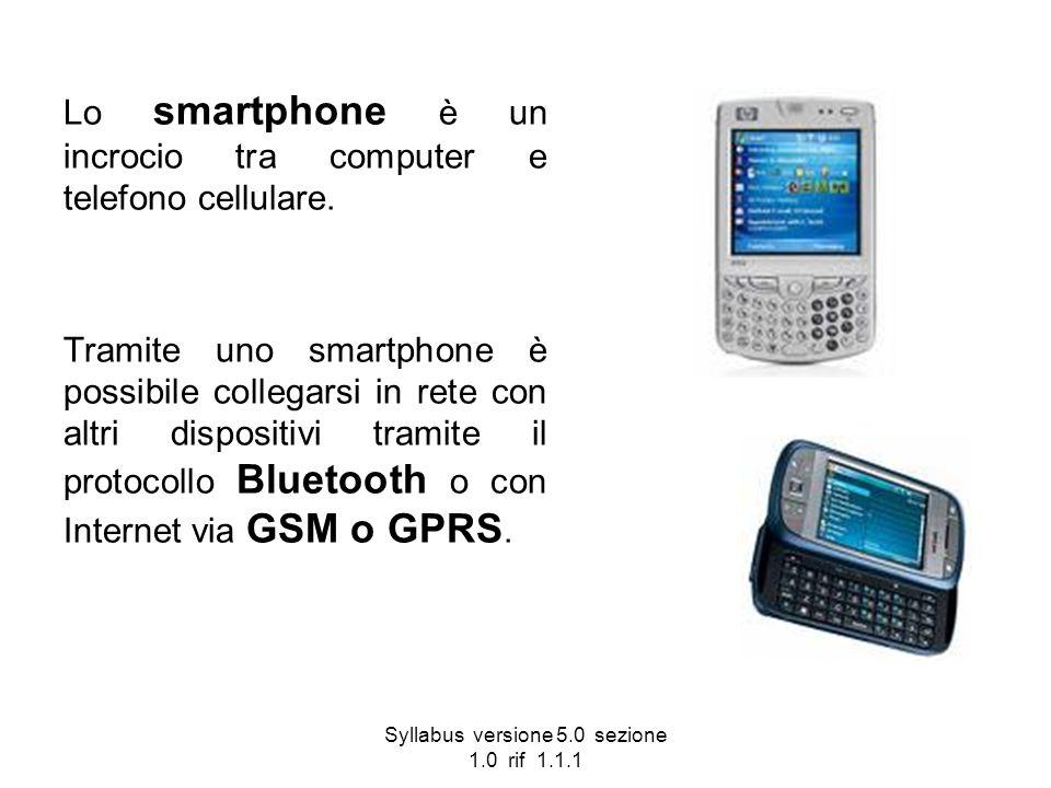 Syllabus versione 5.0 sezione 1.0 rif 1.1.1 Lo smartphone è un incrocio tra computer e telefono cellulare. Tramite uno smartphone è possibile collegar