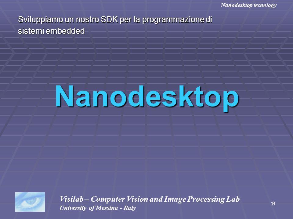 14 Sviluppiamo un nostro SDK per la programmazione di sistemi embedded Nanodesktop Visilab – Computer Vision and Image Processing Lab University of Me