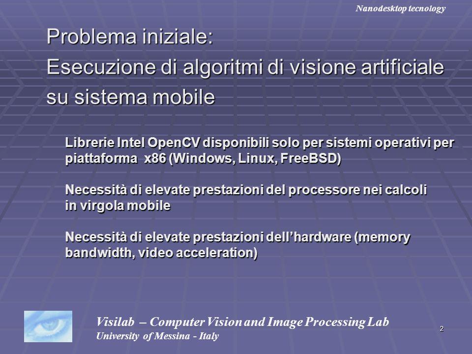 2 Problema iniziale: Problema iniziale: Esecuzione di algoritmi di visione artificiale Esecuzione di algoritmi di visione artificiale su sistema mobil
