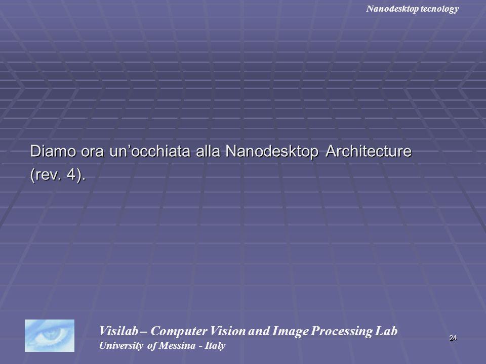 24 Diamo ora unocchiata alla Nanodesktop Architecture (rev. 4). Visilab – Computer Vision and Image Processing Lab University of Messina - Italy Nanod