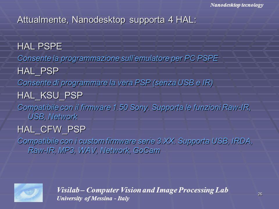 26 Attualmente, Nanodesktop supporta 4 HAL: HAL PSPE Consente la programmazione sullemulatore per PC PSPE HAL_PSP Consente di programmare la vera PSP