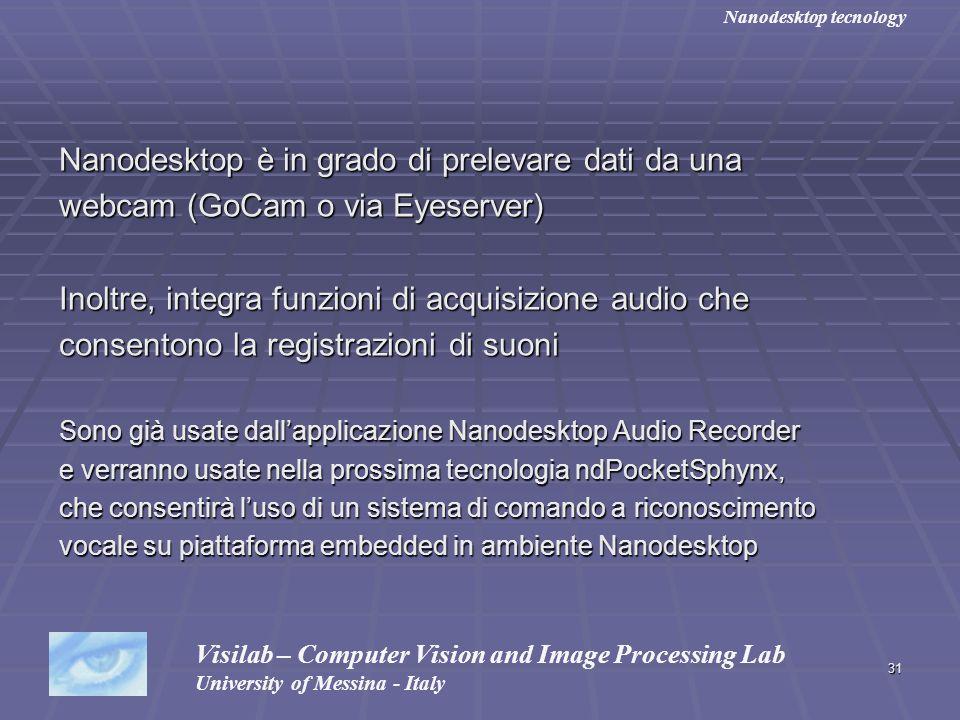 31 Nanodesktop è in grado di prelevare dati da una webcam (GoCam o via Eyeserver) Inoltre, integra funzioni di acquisizione audio che consentono la re