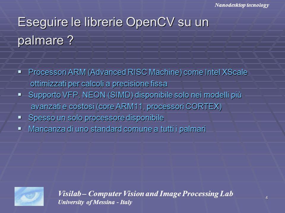 4 Eseguire le librerie OpenCV su un palmare ? Processori ARM (Advanced RISC Machine) come Intel XScale Processori ARM (Advanced RISC Machine) come Int
