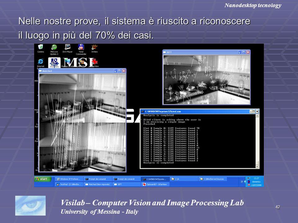 42 Nelle nostre prove, il sistema è riuscito a riconoscere il luogo in più del 70% dei casi. Visilab – Computer Vision and Image Processing Lab Univer