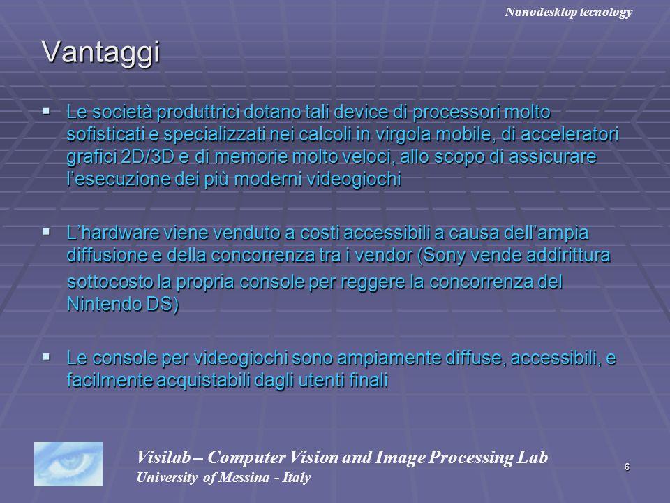 6 Vantaggi Le società produttrici dotano tali device di processori molto sofisticati e specializzati nei calcoli in virgola mobile, di acceleratori gr