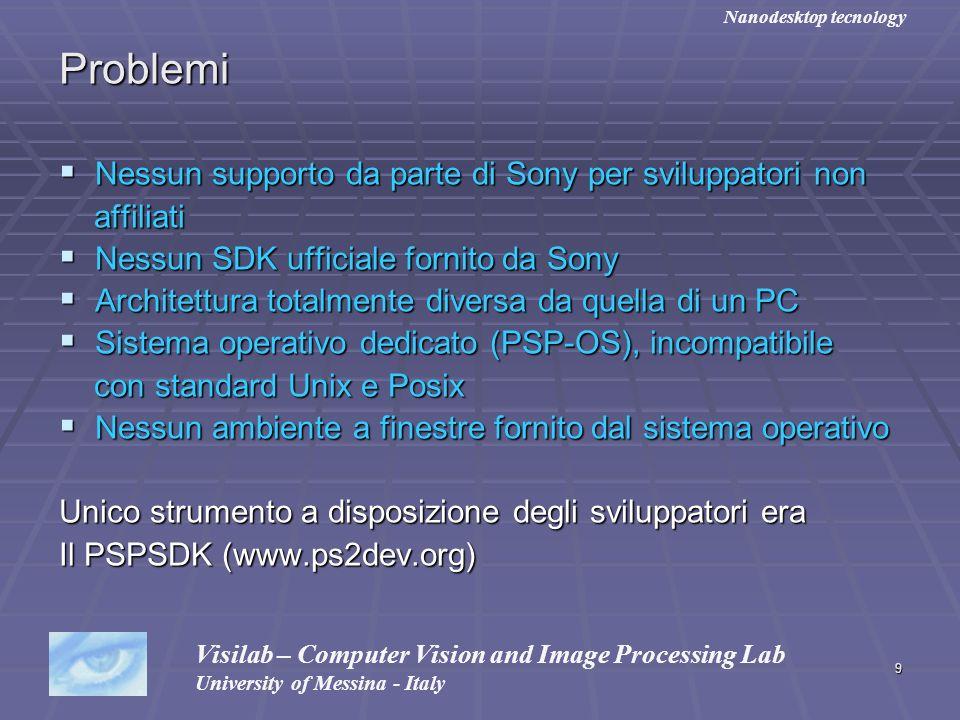 9 Problemi Nessun supporto da parte di Sony per sviluppatori non Nessun supporto da parte di Sony per sviluppatori non affiliati affiliati Nessun SDK