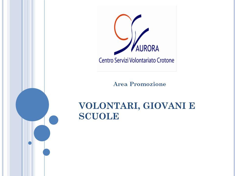 VOLONTARI, GIOVANI E SCUOLE Area Promozione