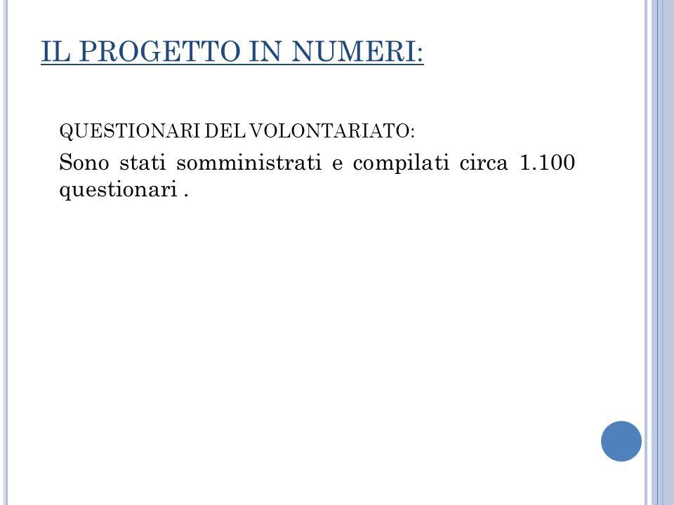 IL PROGETTO IN NUMERI: QUESTIONARI DEL VOLONTARIATO: Sono stati somministrati e compilati circa 1.100 questionari.