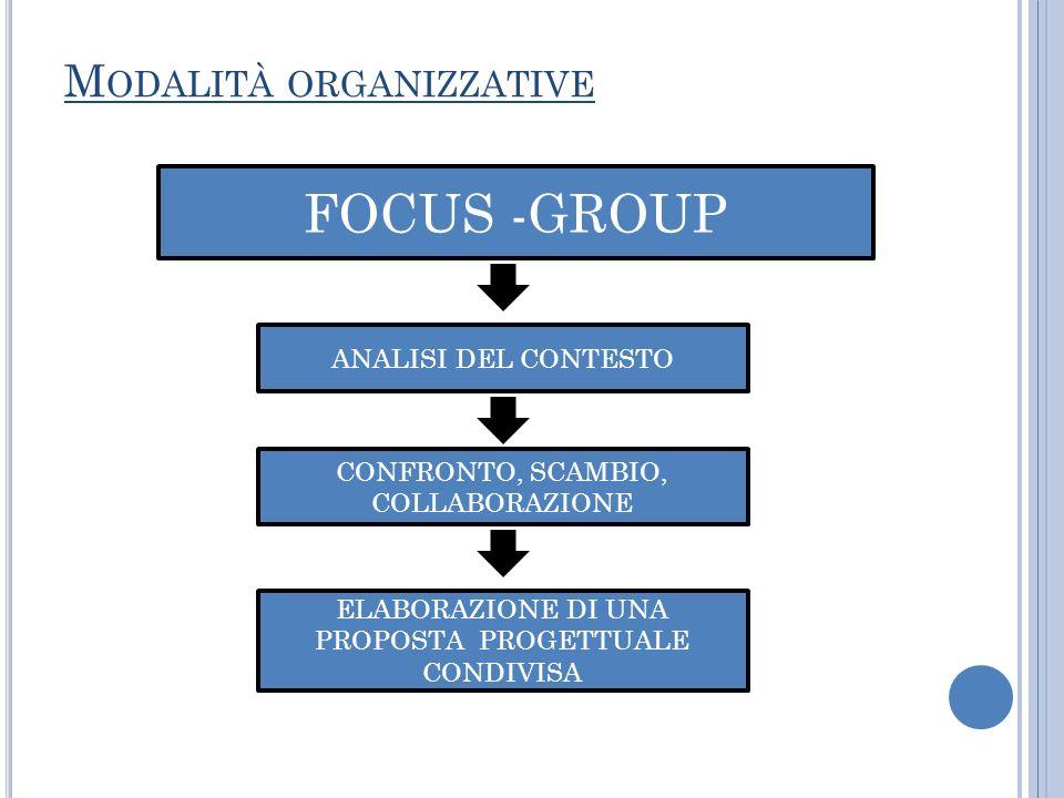 M ODALITÀ ORGANIZZATIVE FOCUS -GROUP ANALISI DEL CONTESTO CONFRONTO, SCAMBIO, COLLABORAZIONE ELABORAZIONE DI UNA PROPOSTA PROGETTUALE CONDIVISA
