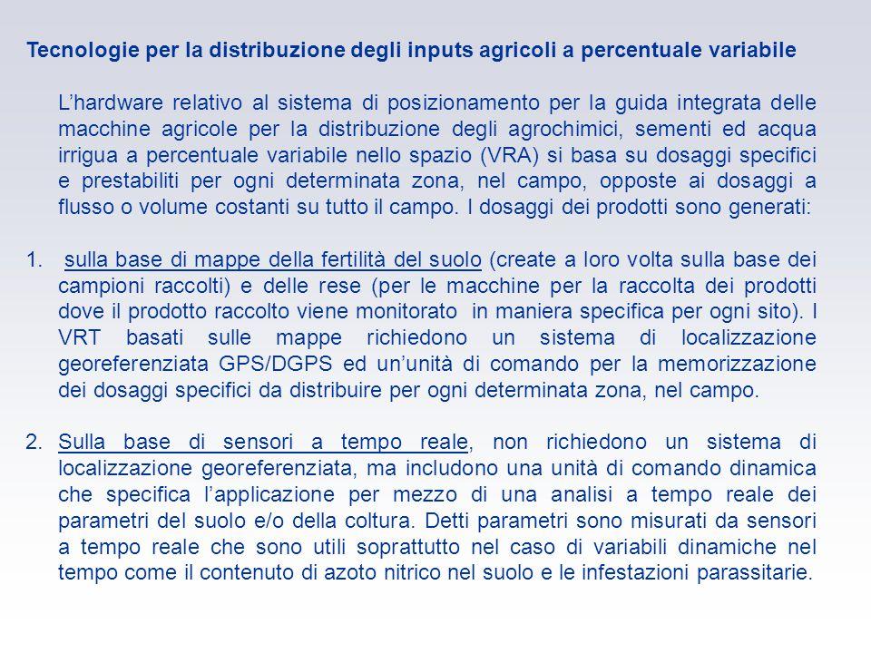 Tecnologie per la distribuzione degli inputs agricoli a percentuale variabile Lhardware relativo al sistema di posizionamento per la guida integrata d