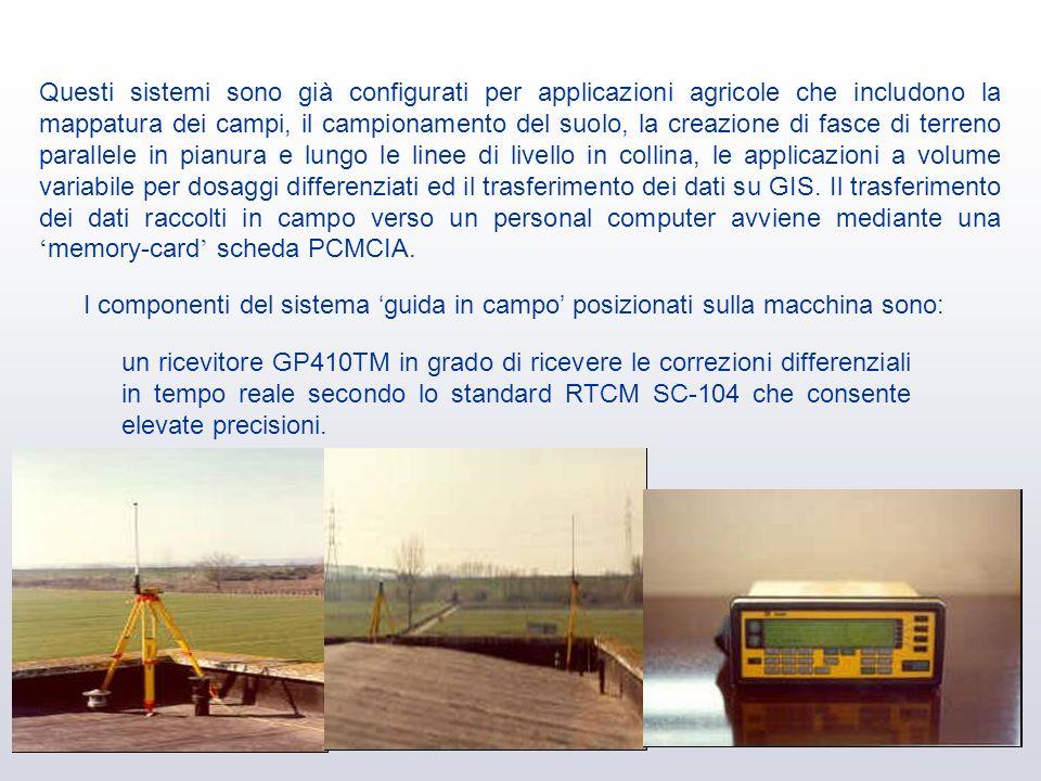 Questi sistemi sono già configurati per applicazioni agricole che includono la mappatura dei campi, il campionamento del suolo, la creazione di fasce