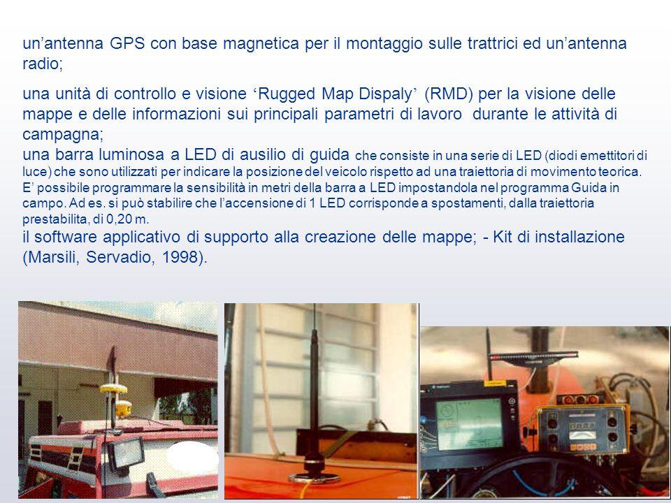 unantenna GPS con base magnetica per il montaggio sulle trattrici ed unantenna radio; una unità di controllo e visione Rugged Map Dispaly (RMD) per la