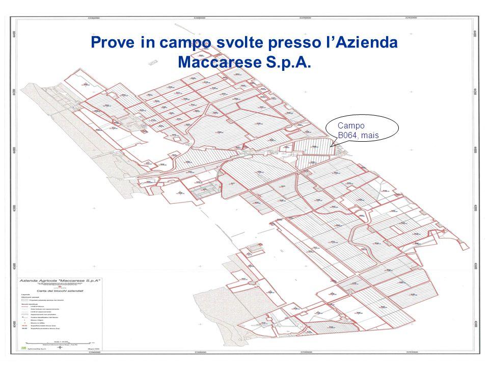 Prove in campo svolte presso lAzienda Maccarese S.p.A. Campo B064, mais