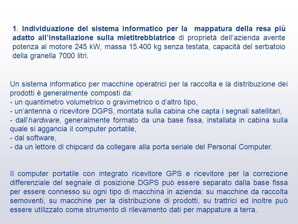 1. Individuazione del sistema informatico per la mappatura della resa più adatto allinstallazione sulla mietitrebbiatrice di proprietà dellazienda ave