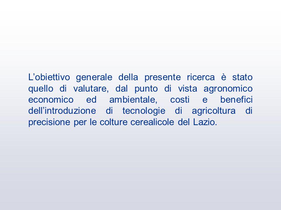 Lobiettivo generale della presente ricerca è stato quello di valutare, dal punto di vista agronomico economico ed ambientale, costi e benefici dellint
