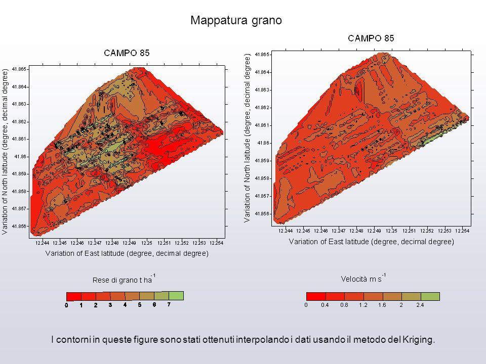 I contorni in queste figure sono stati ottenuti interpolando i dati usando il metodo del Kriging. Mappatura grano