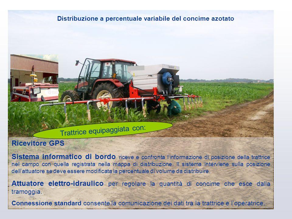 Ricevitore GPS Sistema informatico di bordo riceve e confronta linformazione di posizione della trattrice nel campo con quella registrata nella mappa