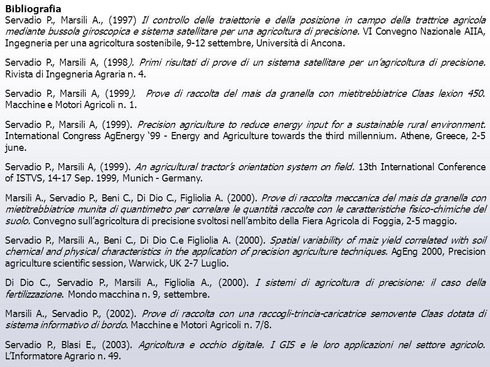 Bibliografia Servadio P., Marsili A., (1997) Il controllo delle traiettorie e della posizione in campo della trattrice agricola mediante bussola giros