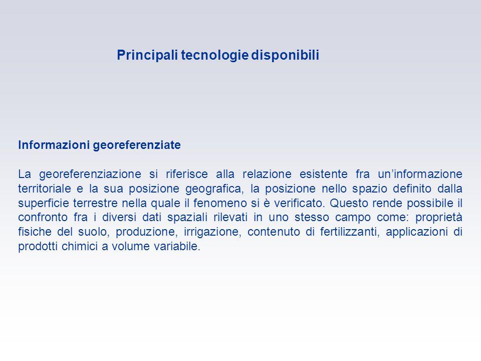 Principali tecnologie disponibili Informazioni georeferenziate La georeferenziazione si riferisce alla relazione esistente fra uninformazione territor