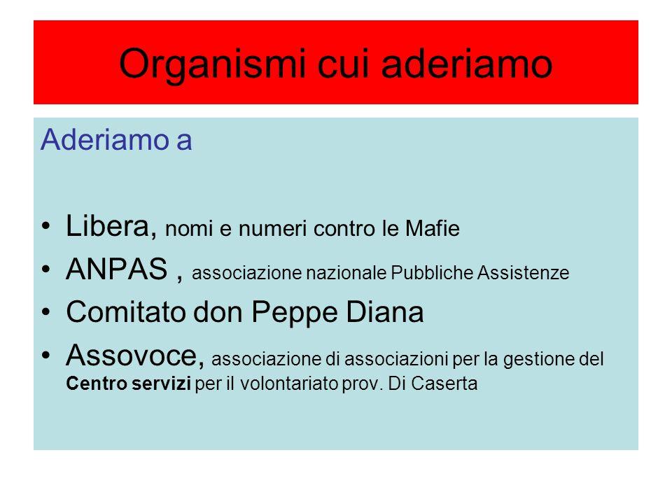 Organismi cui aderiamo Aderiamo a Libera, nomi e numeri contro le Mafie ANPAS, associazione nazionale Pubbliche Assistenze Comitato don Peppe Diana Assovoce, associazione di associazioni per la gestione del Centro servizi per il volontariato prov.