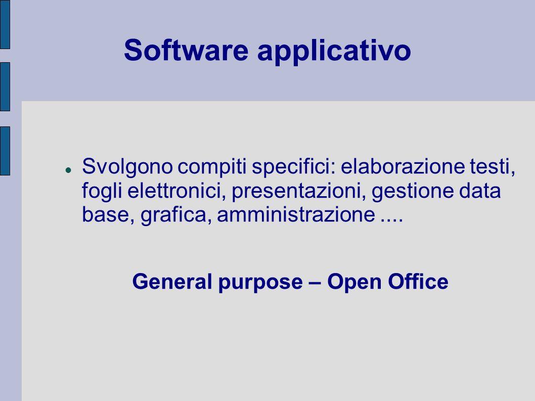 Software applicativo Svolgono compiti specifici: elaborazione testi, fogli elettronici, presentazioni, gestione data base, grafica, amministrazione...