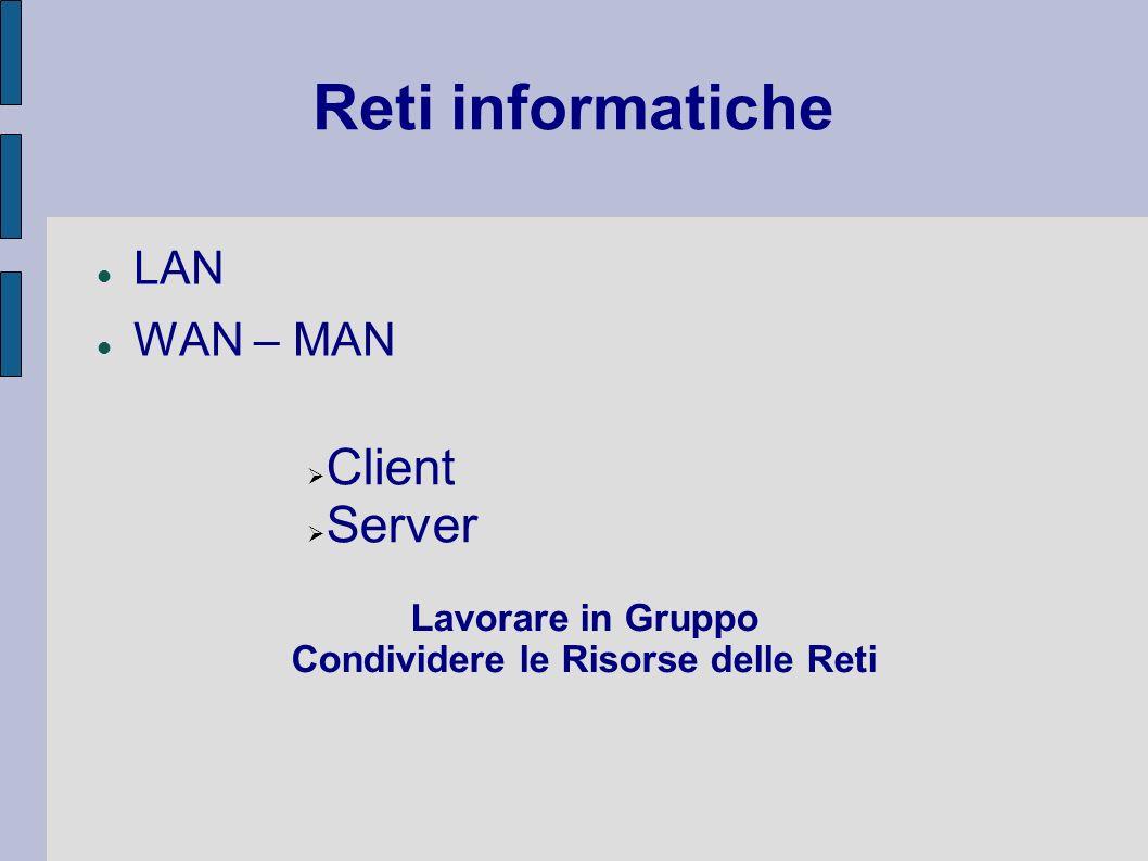 Reti informatiche LAN WAN – MAN Client Server Lavorare in Gruppo Condividere le Risorse delle Reti