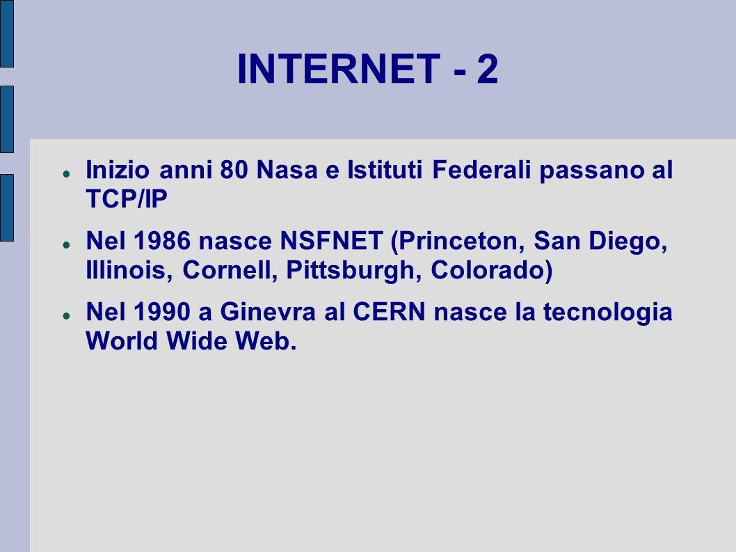 INTERNET - 2 Inizio anni 80 Nasa e Istituti Federali passano al TCP/IP Nel 1986 nasce NSFNET (Princeton, San Diego, Illinois, Cornell, Pittsburgh, Col