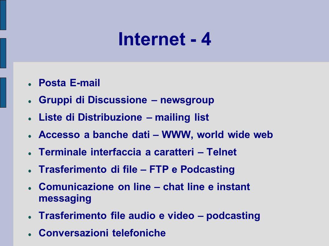 Internet - 4 Posta E-mail Gruppi di Discussione – newsgroup Liste di Distribuzione – mailing list Accesso a banche dati – WWW, world wide web Terminal