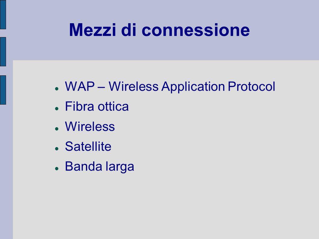 Mezzi di connessione WAP – Wireless Application Protocol Fibra ottica Wireless Satellite Banda larga