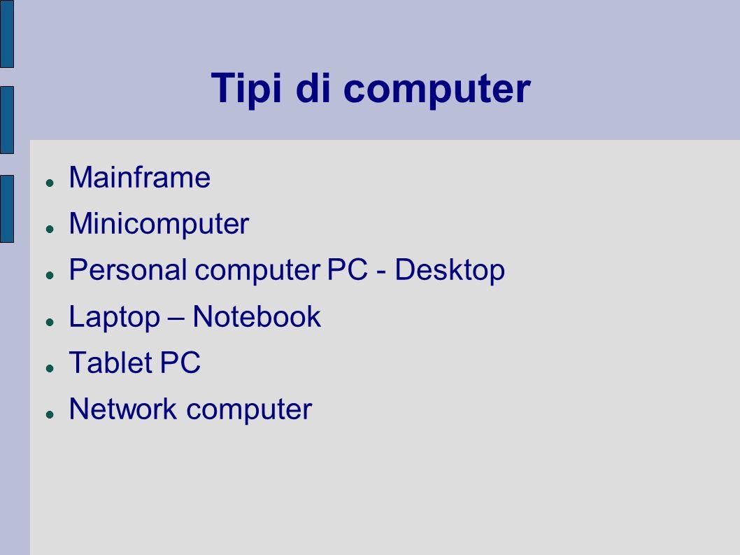 Tipi di computer Mainframe Minicomputer Personal computer PC - Desktop Laptop – Notebook Tablet PC Network computer