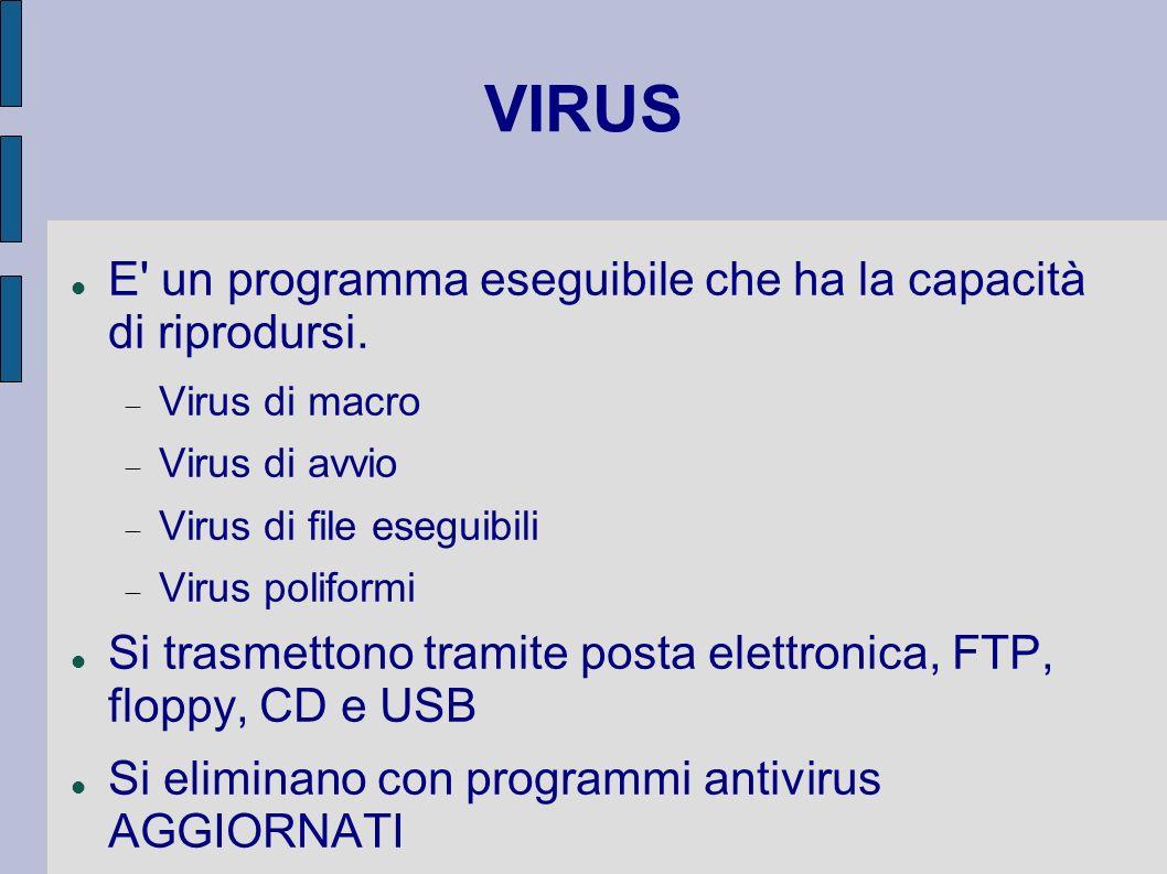 VIRUS E' un programma eseguibile che ha la capacità di riprodursi. Virus di macro Virus di avvio Virus di file eseguibili Virus poliformi Si trasmetto