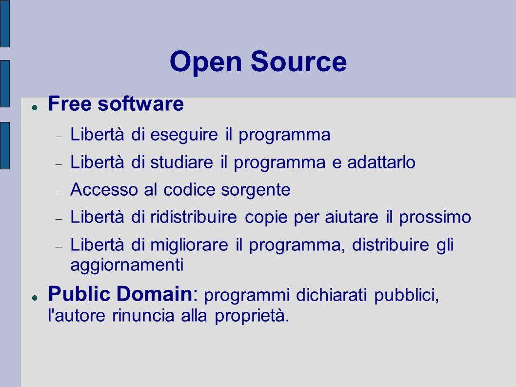 Free software Libertà di eseguire il programma Libertà di studiare il programma e adattarlo Accesso al codice sorgente Libertà di ridistribuire copie