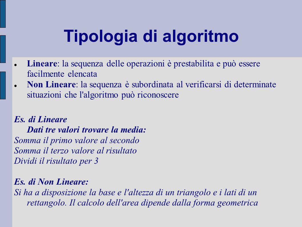 Tipologia di algoritmo Lineare: la sequenza delle operazioni è prestabilita e può essere facilmente elencata Non Lineare: la sequenza è subordinata al