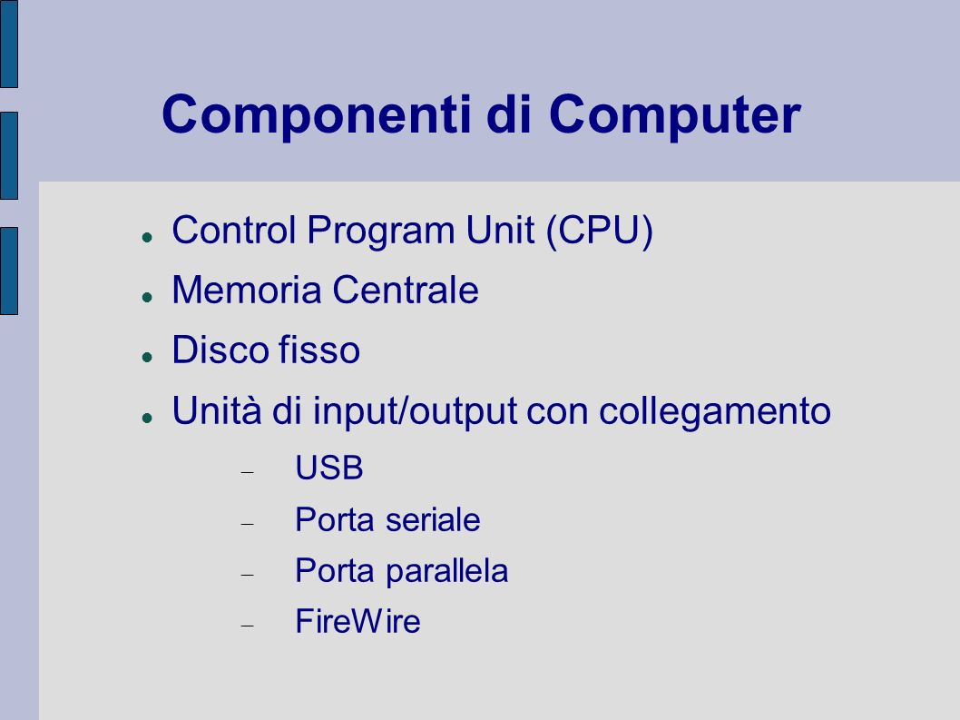 Tipi di connessione PSTN Public Switched Telephone Network ISDN Integrated Service Digital Network ADSL Asymmetric Digital Subscriver Line