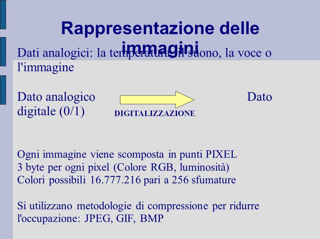 Rappresentazione delle immagini Dati analogici: la temperatura, il suono, la voce o l'immagine Dato analogico Dato digitale (0/1) Ogni immagine viene