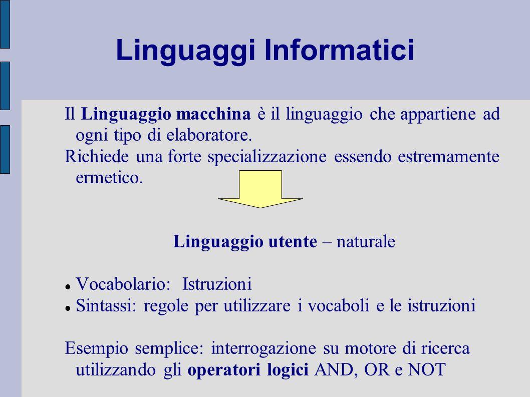 Linguaggi Informatici Il Linguaggio macchina è il linguaggio che appartiene ad ogni tipo di elaboratore. Richiede una forte specializzazione essendo e