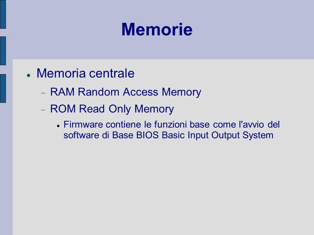 Memorie Memoria centrale RAM Random Access Memory ROM Read Only Memory Firmware contiene le funzioni base come l'avvio del software di Base BIOS Basic