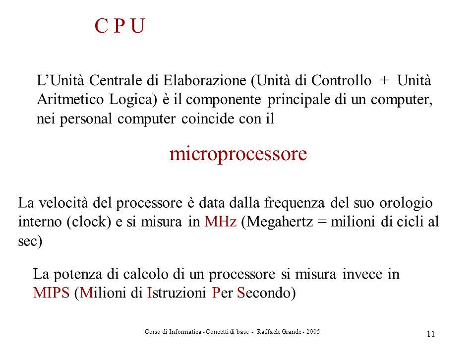 Corso di Informatica - Concetti di base - Raffaele Grande - 2005 11 C P U LUnità Centrale di Elaborazione (Unità di Controllo + Unità Aritmetico Logic