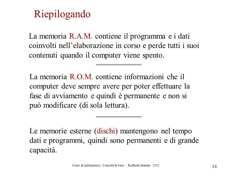 Corso di Informatica - Concetti di base - Raffaele Grande - 2005 16 La memoria R.A.M. contiene il programma e i dati coinvolti nellelaborazione in cor
