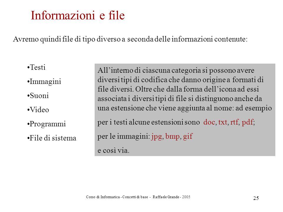 Corso di Informatica - Concetti di base - Raffaele Grande - 2005 25 Avremo quindi file di tipo diverso a seconda delle informazioni contenute: Testi I