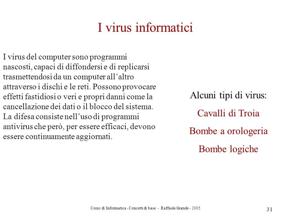 Corso di Informatica - Concetti di base - Raffaele Grande - 2005 31 I virus informatici I virus del computer sono programmi nascosti, capaci di diffon