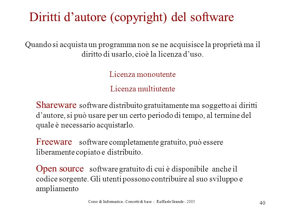 Corso di Informatica - Concetti di base - Raffaele Grande - 2005 40 Diritti dautore (copyright) del software Quando si acquista un programma non se ne