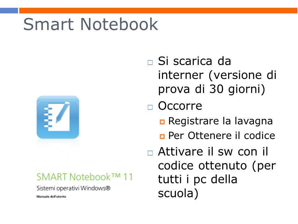 Smart Notebook Si scarica da interner (versione di prova di 30 giorni) Occorre Registrare la lavagna Per Ottenere il codice Attivare il sw con il codi