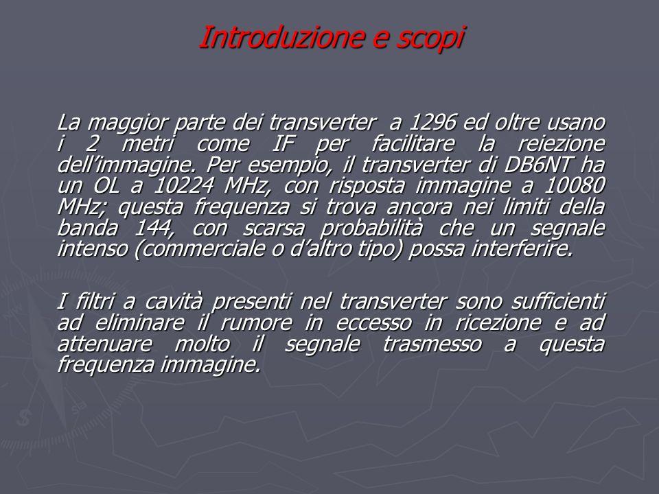 Introduzione e scopi La maggior parte dei transverter a 1296 ed oltre usano i 2 metri come IF per facilitare la reiezione dellimmagine. Per esempio, i