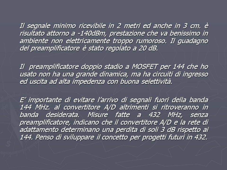Il segnale minimo ricevibile in 2 metri ed anche in 3 cm. è risultato attorno a -140dBm, prestazione che va benissimo in ambiente non elettricamente t