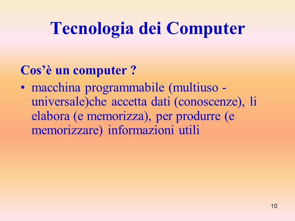 10 Tecnologia dei Computer Cosè un computer ? macchina programmabile (multiuso - universale)che accetta dati (conoscenze), li elabora (e memorizza), p