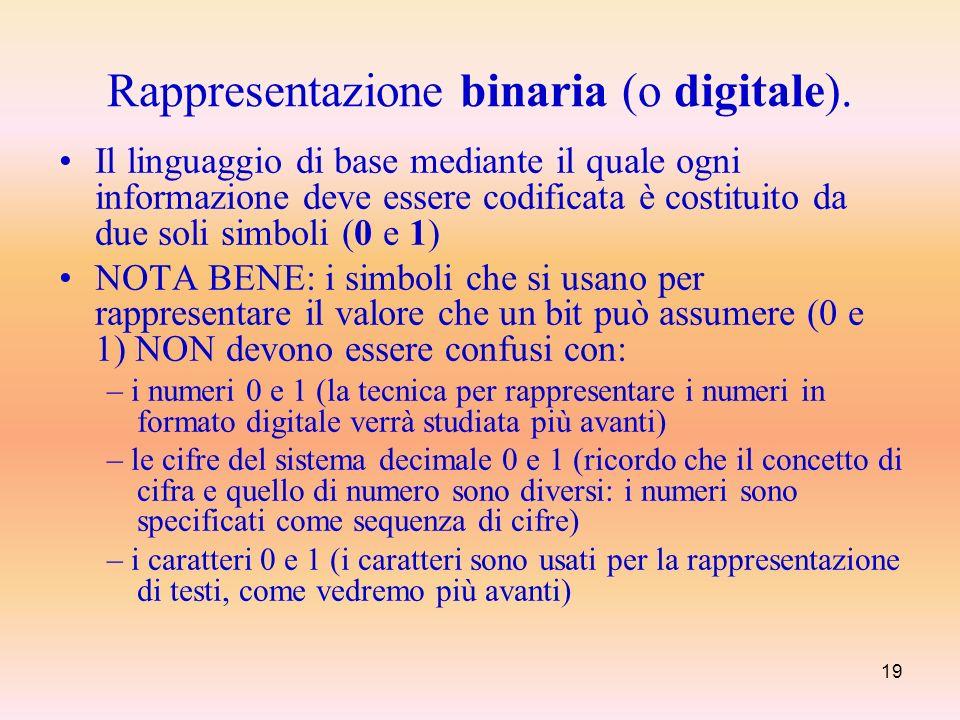 19 Rappresentazione binaria (o digitale). Il linguaggio di base mediante il quale ogni informazione deve essere codificata è costituito da due soli si