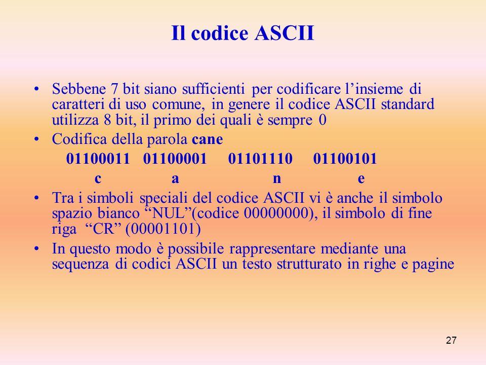 27 Sebbene 7 bit siano sufficienti per codificare linsieme di caratteri di uso comune, in genere il codice ASCII standard utilizza 8 bit, il primo dei