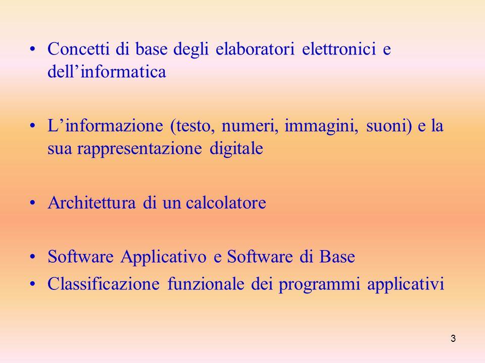 3 Concetti di base degli elaboratori elettronici e dellinformatica Linformazione (testo, numeri, immagini, suoni) e la sua rappresentazione digitale A